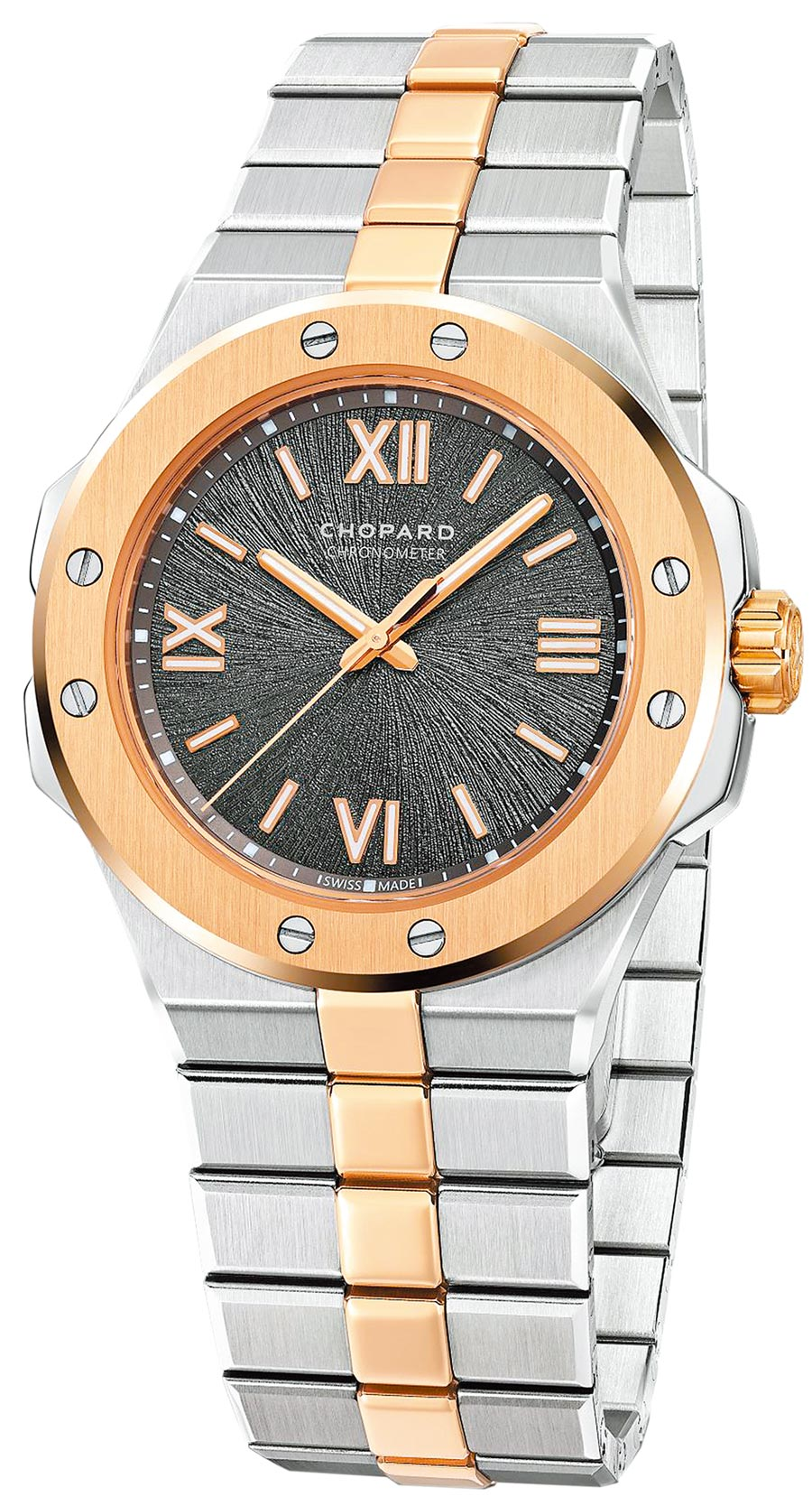 蕭邦Alpine Eagle系列精鋼與玫瑰金雙色腕表,36mm,53萬2000元。(CHOPARD提供)