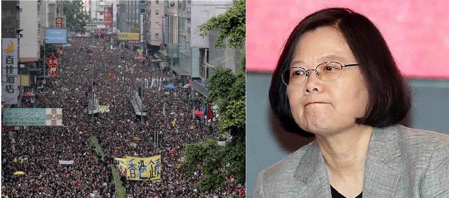 香港反逃犯條例(左)、中華民國總統蔡英文。(圖/合成圖,本報資料照)