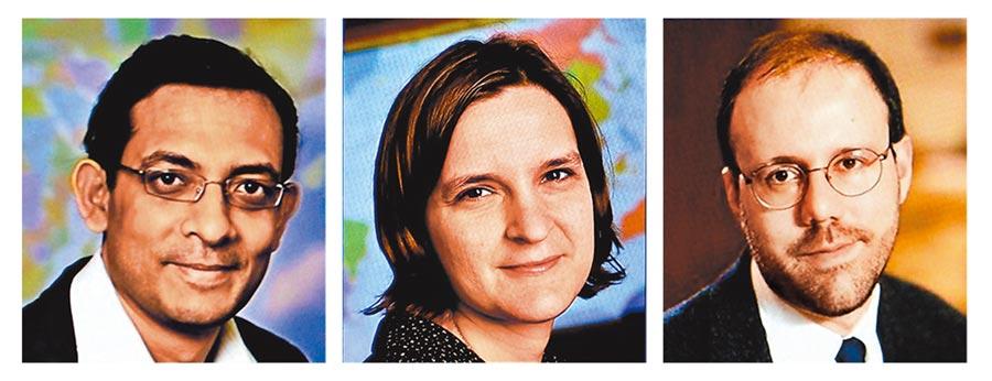瑞典皇家科學院昨宣布,美國學者巴納吉(左起)、杜芙洛與克雷默,因減緩全球貧窮的理論,獲頒今年諾貝爾經濟學獎。其中巴納吉和杜芙洛2人為夫婦。(路透)