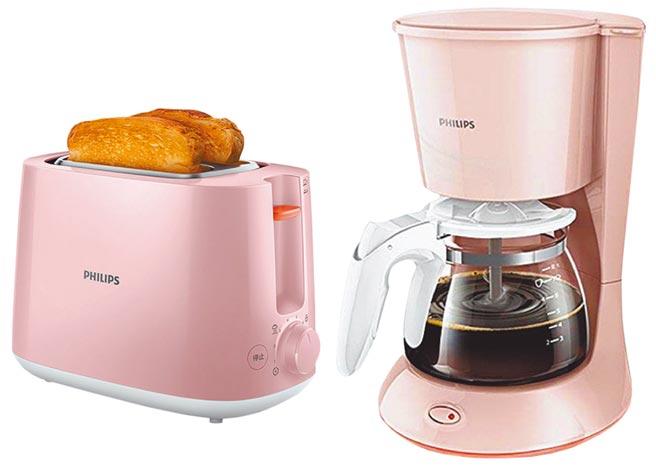 比漾卡友周慶首4日全館當日累滿3萬3000元,加贈總值3000元的飛利浦粉紅麵包機+咖啡機,限量300份。(比漾廣場提供)