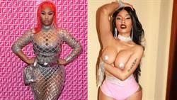 妮琪米娜Nicki Minaj深溝炸網子裙!「長輩」透視被看光