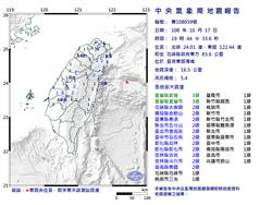 有感搖超久!19:44規模5.4地震 宜蘭縣最大震度3級