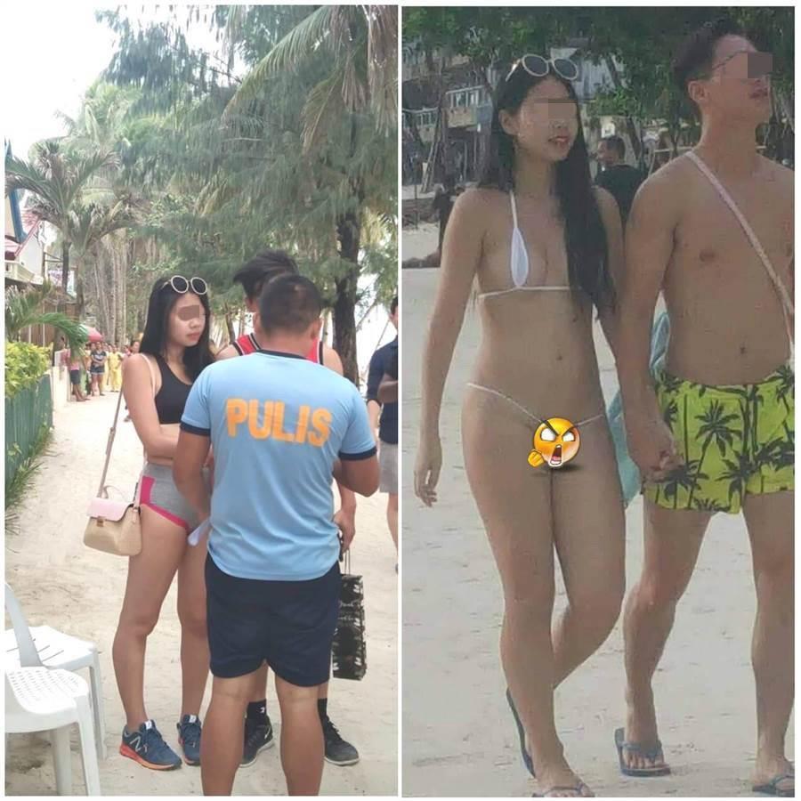 日前在菲律賓長灘島穿了「一條線」比基尼的台女,因過於暴露遭菲律賓警方開罰。(圖/摘自臉書)