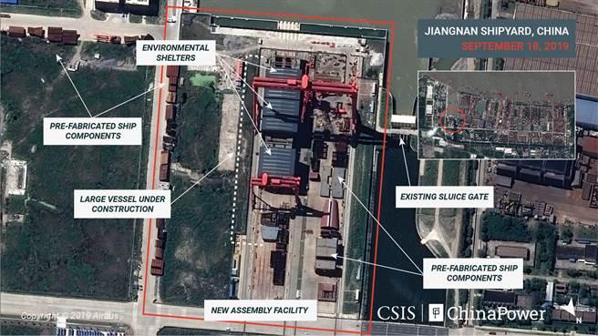專家認為,從高解析度衛星圖像看來,解放軍的第二艘自製航母003艦應該能在12個月內完工。(CSIS/ChinaPower/Maxar Technologies and Airbus/路透)