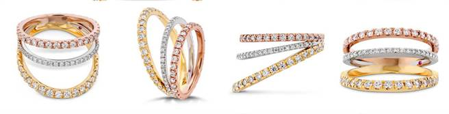 BRING THE DRAMA戒指,左至右為鉑金、玫瑰金、黃K金、鑽石、粉紅剛玉,NT$270,000