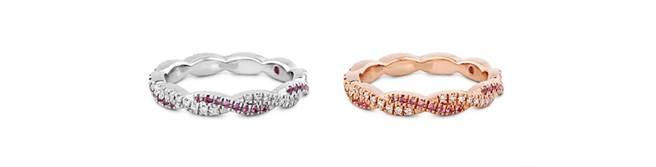 HARLEY GO BOLDLY戒指,左至右為白K金/玫瑰金款式,鑽石、粉紅剛玉,NT$130,000