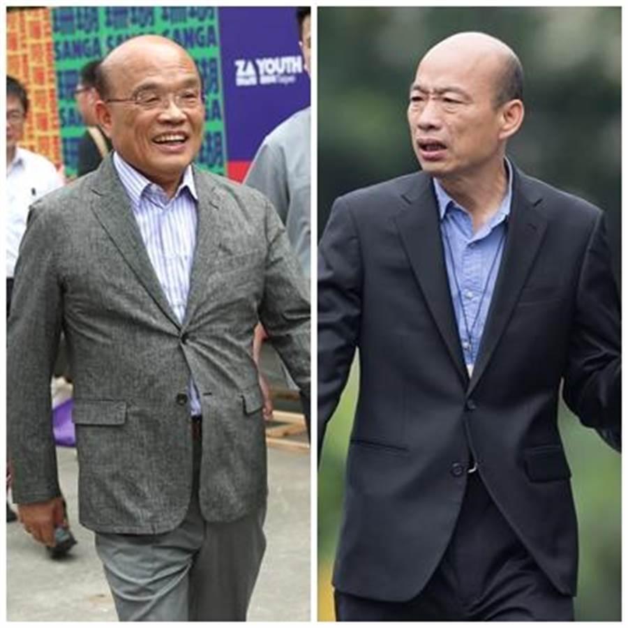 行政院長蘇貞昌(左)、高雄市長韓國瑜(右)。(圖/資料照片合成)一韓國瑜 二蘇貞昌 三以上皆非