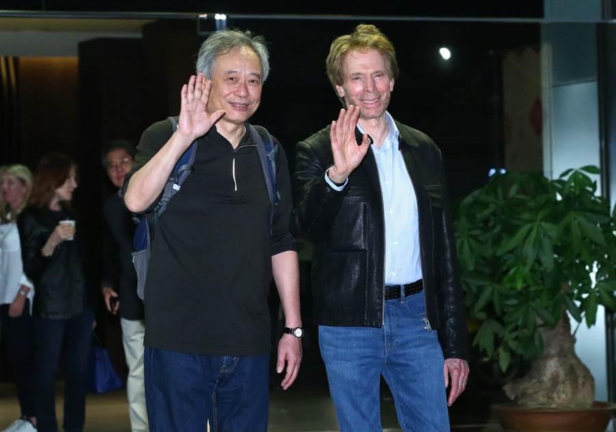 李安(左)跟大製片傑瑞布洛克海默一同亮相。(粘耿豪攝)