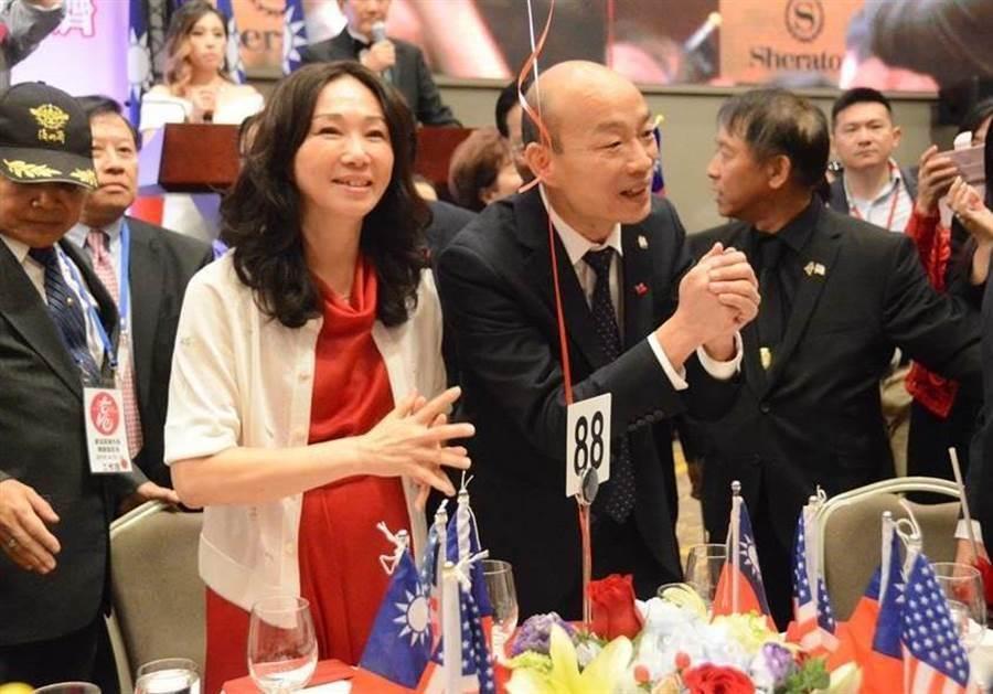 韓國瑜與太太李佳芬今年4月在美國與僑胞晚宴。(圖/本報資料照,林宏聰攝)