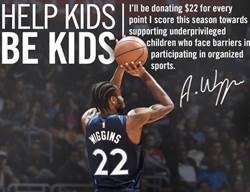 NBA》有愛!威金斯每得1分捐22美元