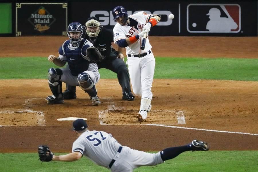 洋基投手格林被太空人葛瑞奧敲出全壘打。(美聯社資料照)