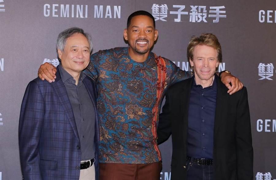 李安、威爾史密斯和製片傑瑞布洛克海默來台宣傳新片《雙子殺手》。(圖/廖映翔攝)