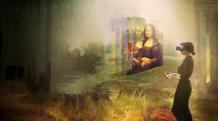 HTC黊手羅浮宮,在虛擬實境中帶你觀賞李奧納多・達文西 (Leonardo da Vinci)名作《蒙娜麗莎》。(HTC提供/黃慧雯台北傳真)