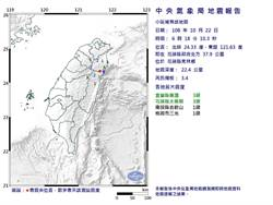 花蓮秀林鄉清晨規模3.4地震 最大震度3級