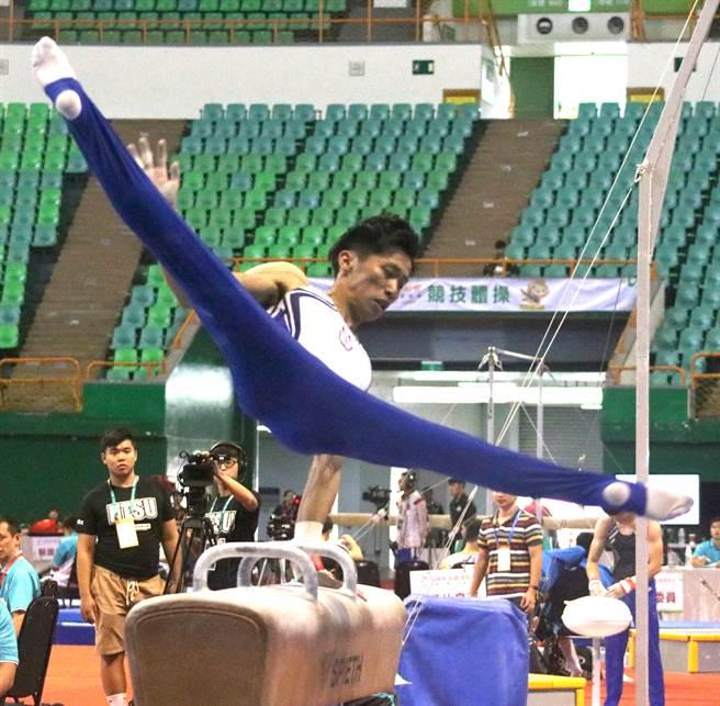 李智凱在全運會完成競技體操個人全能男子組3連霸。(陳筱琳攝)