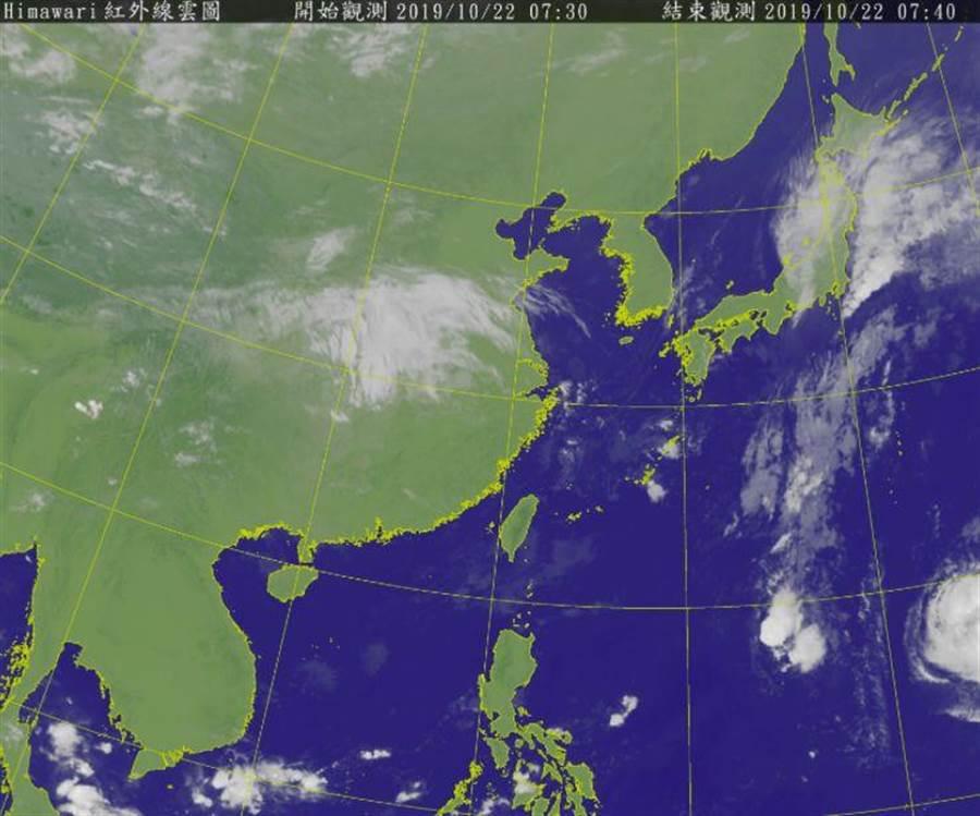 衛星雲圖。翻攝自中央氣象局網站