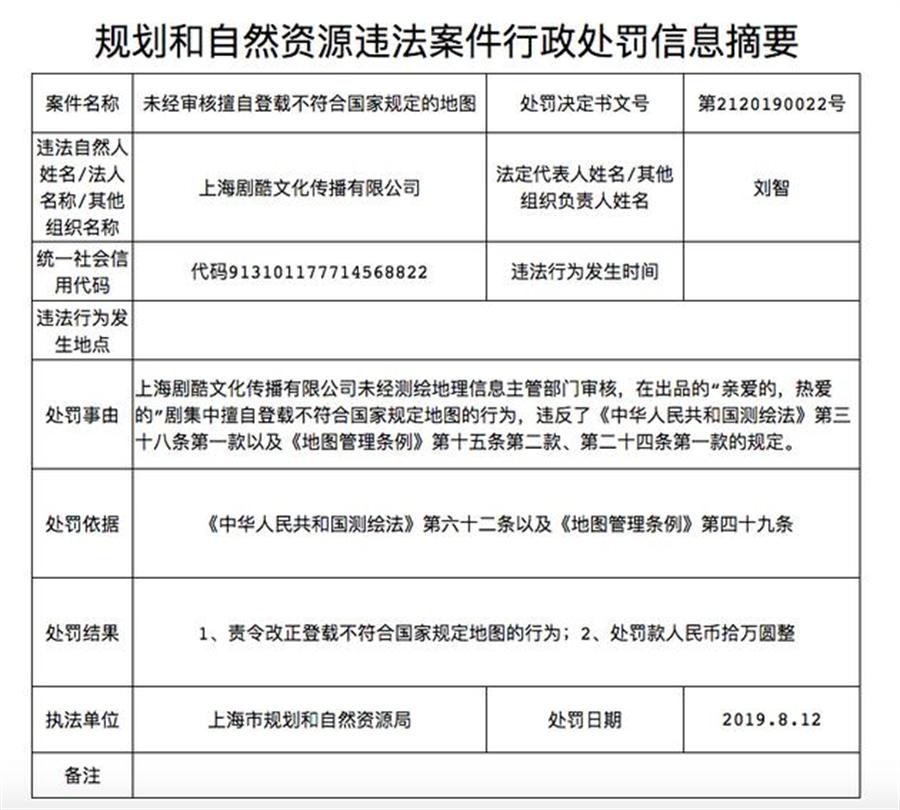 親愛的熱愛的遭上海官方以「未經審核擅自登載不符合國家規定的地圖」為由,開罰人民幣10萬元。(圖/新浪娛樂)