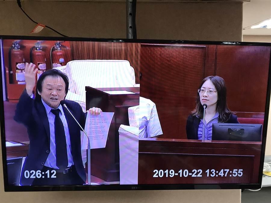 台北市議員王世堅拿出一堆柯文哲在市府吳三連廳大談民眾黨願景的剪報資料,怒轟柯文哲黨政不分做了最壞示範。(陳俊雄攝)