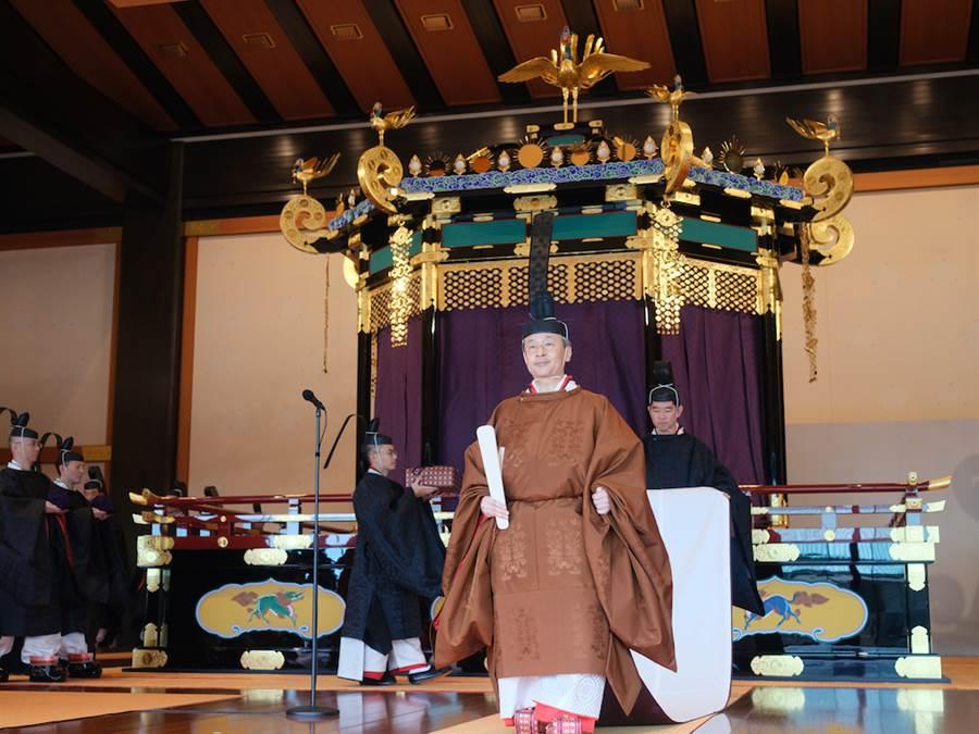 日皇德仁22日在皇宮舉行即位儀式。(日本宮內廳提供)