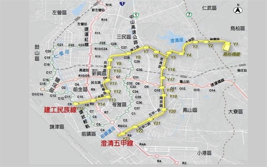 高雄捷運黃線將經過人口總共116萬人的6個行政區,並與捷運紅線、橘線和環狀輕軌串接,完善高雄的捷運交通網路。(圖/高雄捷運局提供)