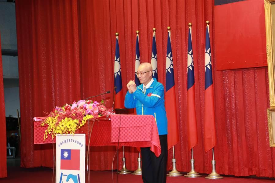 國民黨主席吳敦義中午參加中華民國藍軍百大社團聯盟大會。 (國民黨提供)