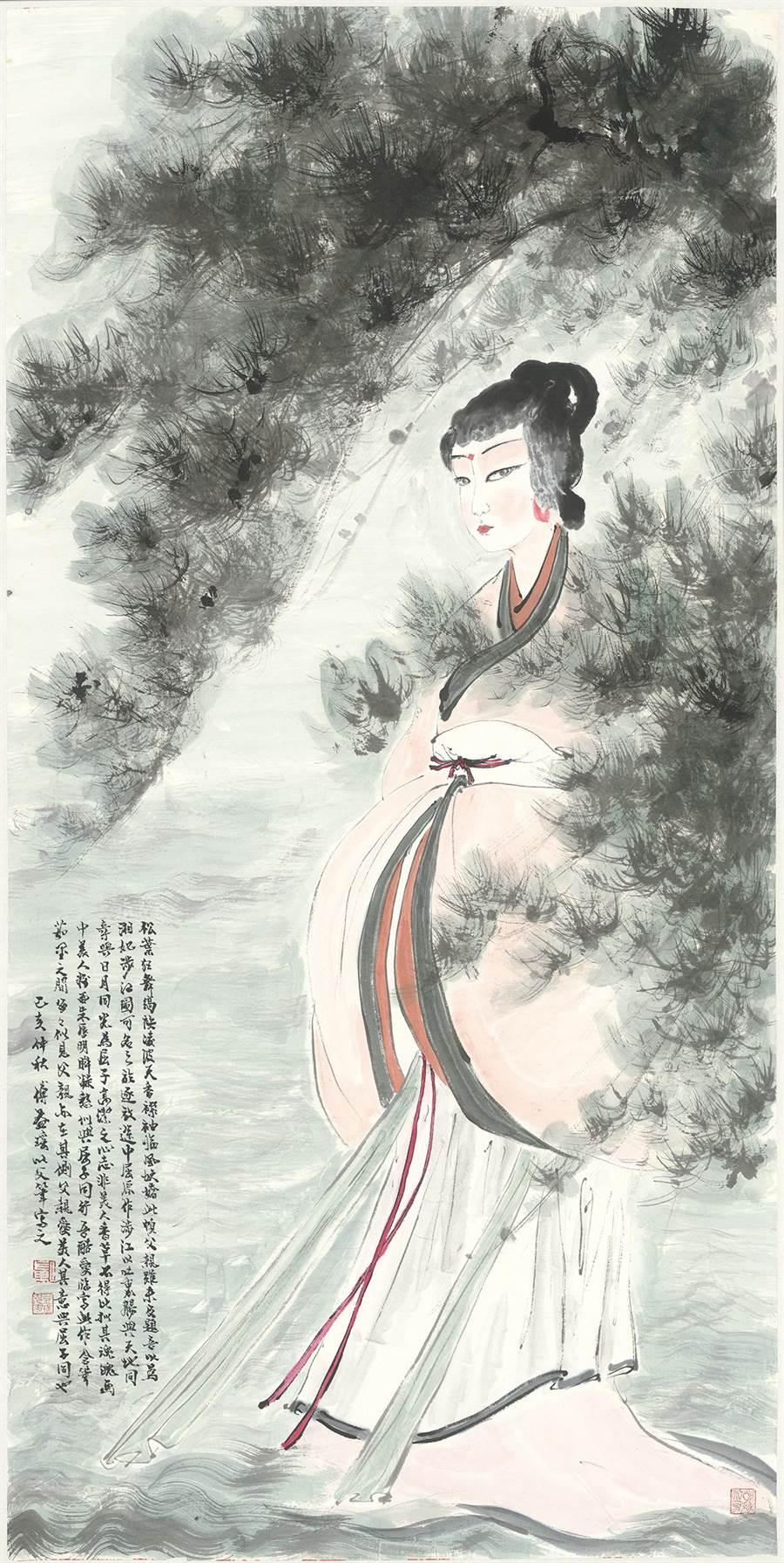 傅益瑤仿父筆的《湘君涉江》展現乃父之風。(墨海樓提供)