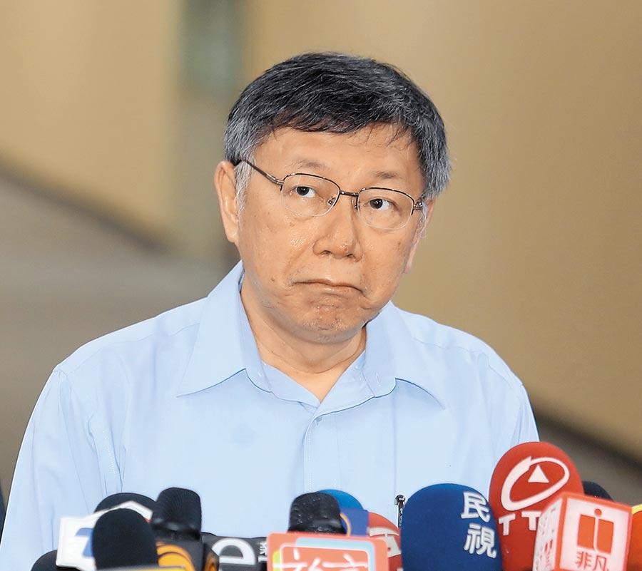 民進黨秘書長羅文嘉質疑台灣民眾黨提名不是為了勝選,而是為了拉下民進黨。台北市長柯文哲21日受訪表示羅文嘉的批評是政治口水。(陳怡誠攝)