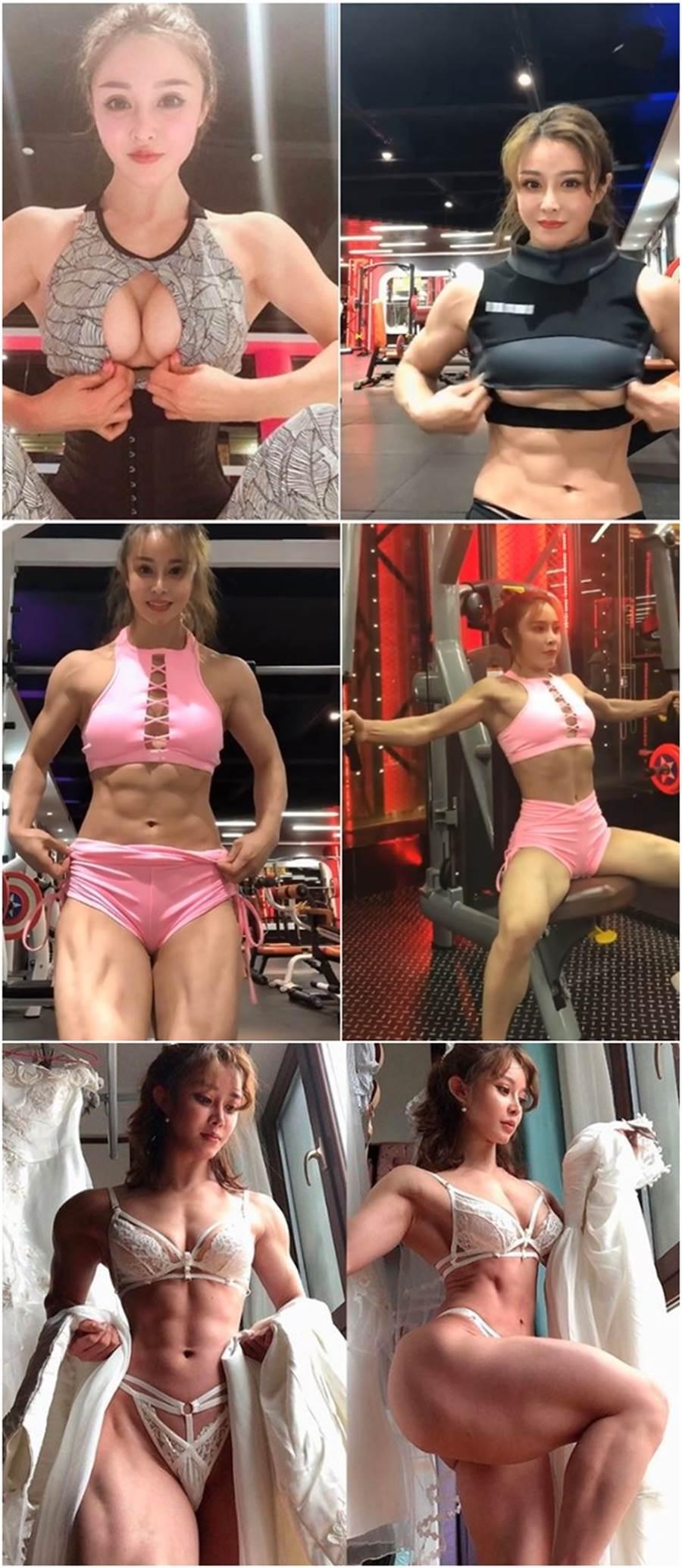 她的身材卻與臉有極大反差,她擁有「大肌肌」,健美肌肉線條讓不少網友看了驚呆。(圖/摘自IG)