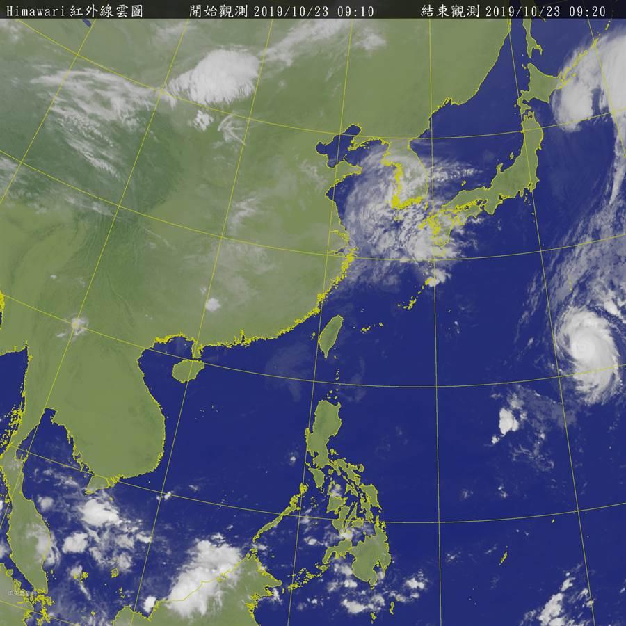 局預報員王品翔說,目前看起來到下週二,整個天氣系統都受東北風影響,水氣偏少(23日衛星雲圖/摘自中央氣象局)