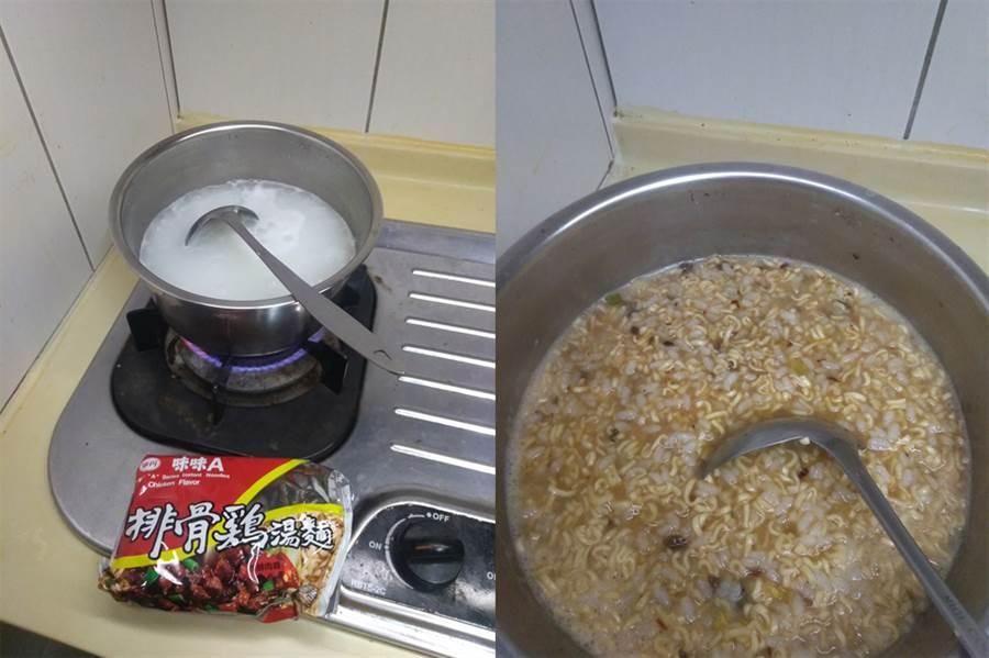 事實上這道「隱藏版泡麵煮法」叫做「蹦粥」。(圖/摘自臉書《爆廢公社》)