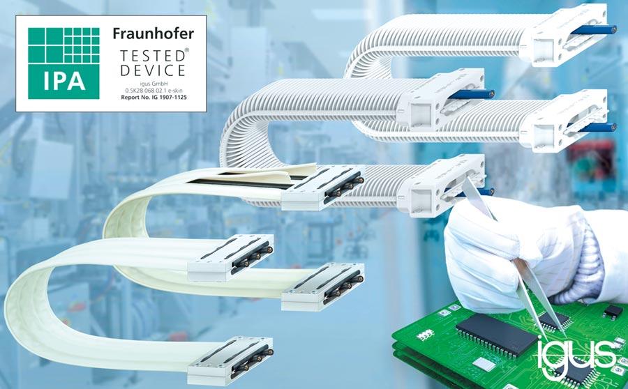 e-skin無塵室專用拖鏈在弗勞恩霍夫測試中獲得ISO 1級認證。圖/igus GmbH提供