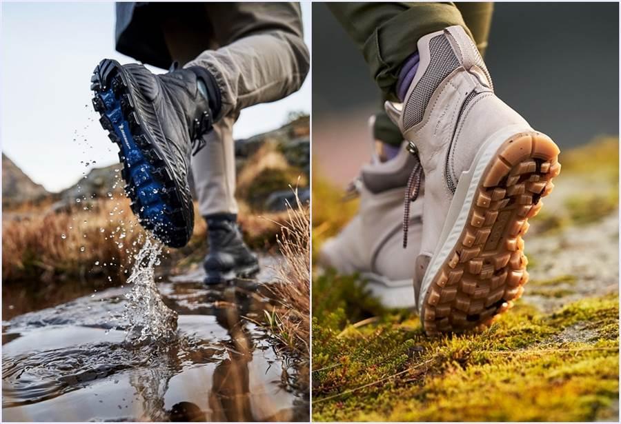 鞋款中底應用ECCO獨家的P.U配方 「PHORENE」,不但減輕重量,回彈力也大大增加,吸震效果十足!(圖/品牌提供)