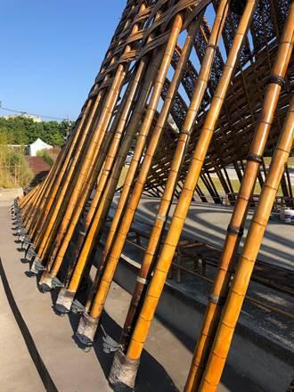 花博竹跡館上漆維護 葫蘆墩公園拍照新景點