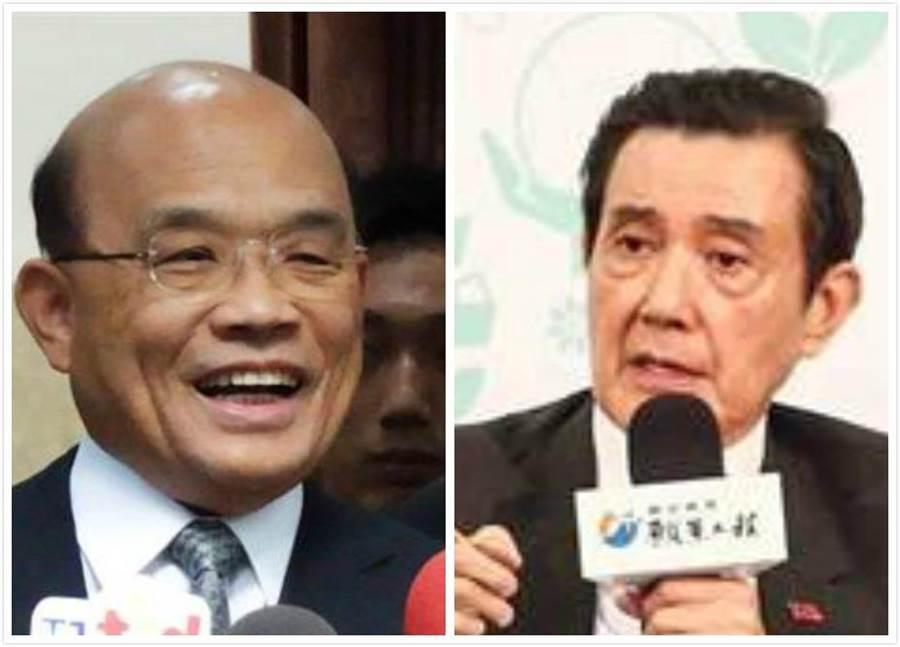 行政院長蘇貞昌(左)、前總統馬英九(右)