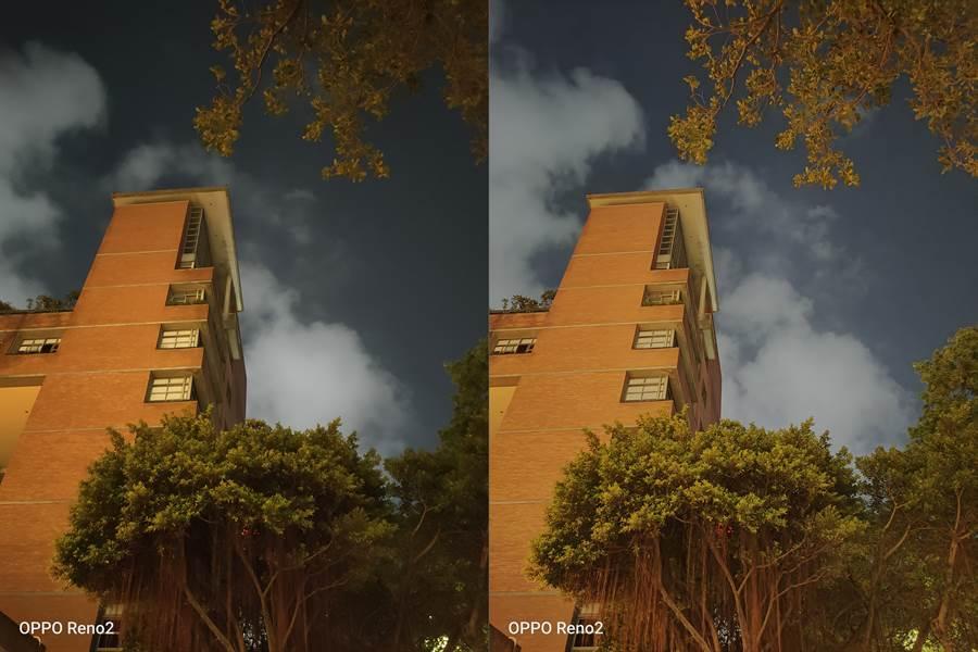 OPPO Reno2夜間實拍(未開夜景模式對比夜景模式(右)(第二組)。(黃慧雯攝)