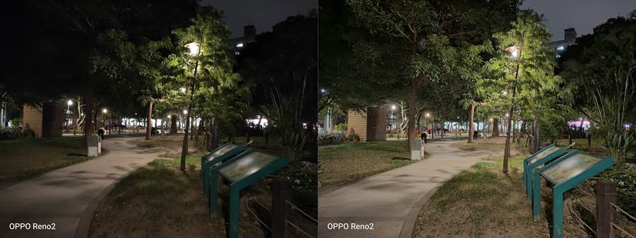 OPPO Reno2夜間實拍(未開夜景模式對比夜景模式(右)(第三組)。(黃慧雯攝)