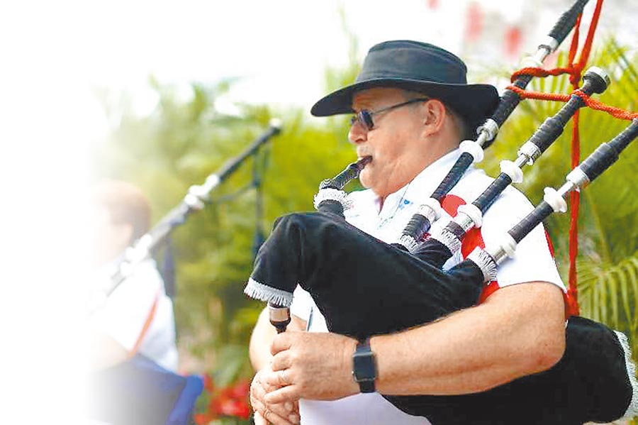 非遺節上的蘇格蘭風笛演奏。