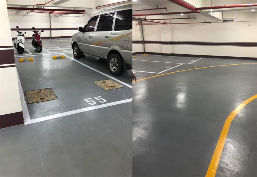 由於車位僅剩往下的坡道前,及靠牆但地板上有2個孔蓋的車位,讓原po難以抉擇(圖翻攝自/ptt)