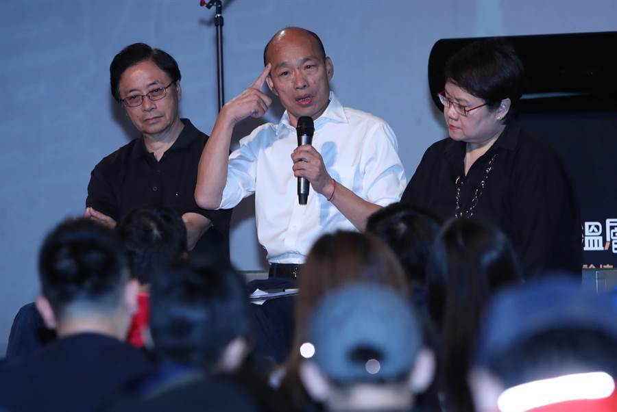 國民黨總統參選人韓國瑜27日出席在台北的青年政策論壇,與年輕人進行溝通,同時也闡述自己的政見。(鄭任南攝)