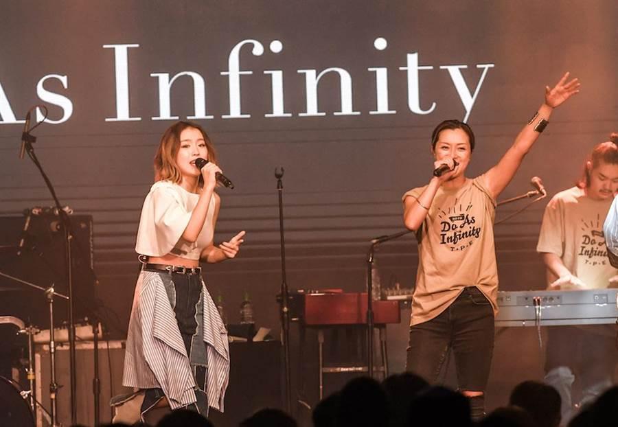 大無限樂團伴都美子與F.I.R.飛兒樂團的Lydia合唱〈Forever Young ~永恆飛翔~〉。(盧禕祺攝)