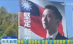 民進黨立委參選人「再進化」 看板沒黨徽還放大國旗