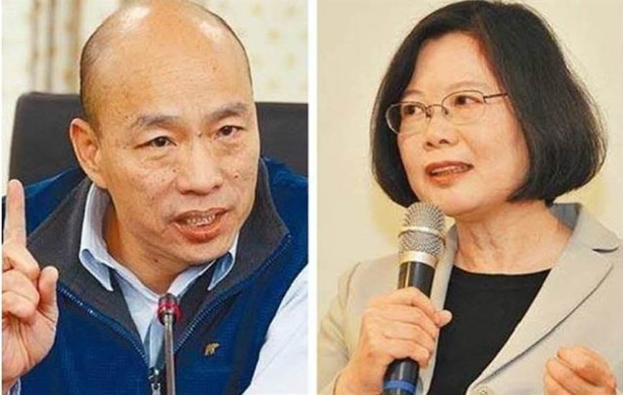 韓國瑜(左)、蔡英文(右)。(中時資料照)