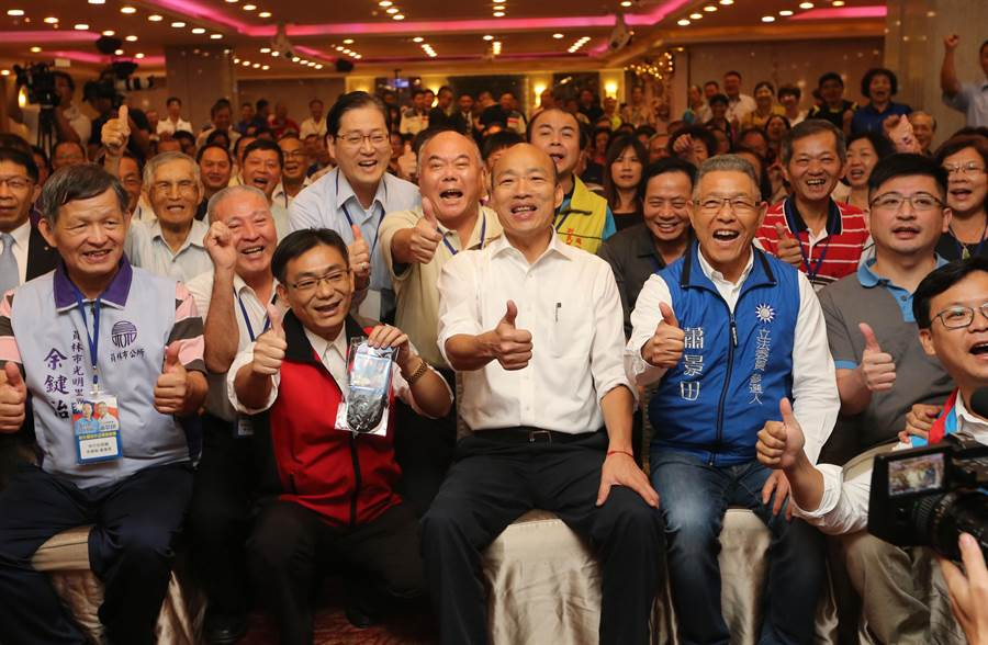 韓國瑜至員林昇財麗禧酒店與中小企業主座談,現場參與的企業主爆滿,超過200人。(黃國峰攝)