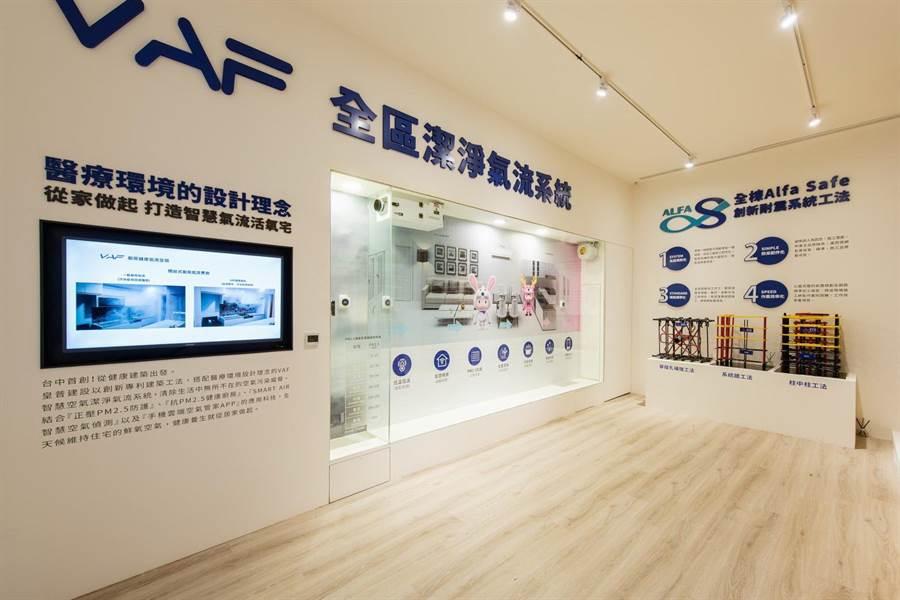 「皇普莊園」從外觀到居家空間導入「Alfa safe專利耐震系統」,戶戶標配「VAF專利潔淨氣流系統」。(盧金足攝)