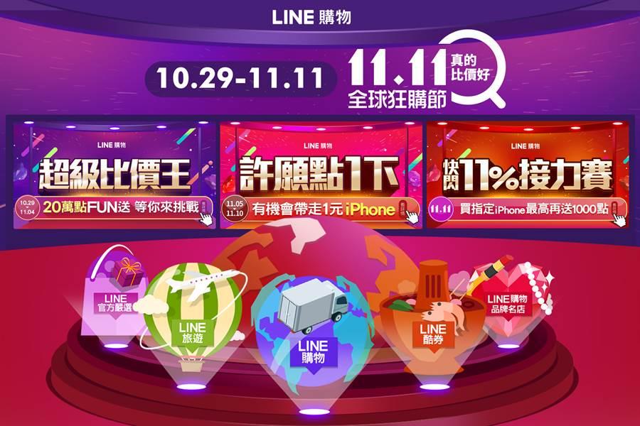 LINE購物「全球狂購節」提供雙11期間最佳優惠及賺點導航。(摘自LINE官網)