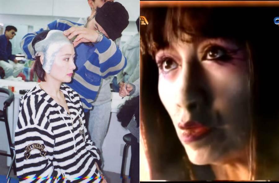 潘迎紫犧牲美貌,成就超逼真的「火鳳凰cosplay」。(左/中時資料照片、右/中視提供)