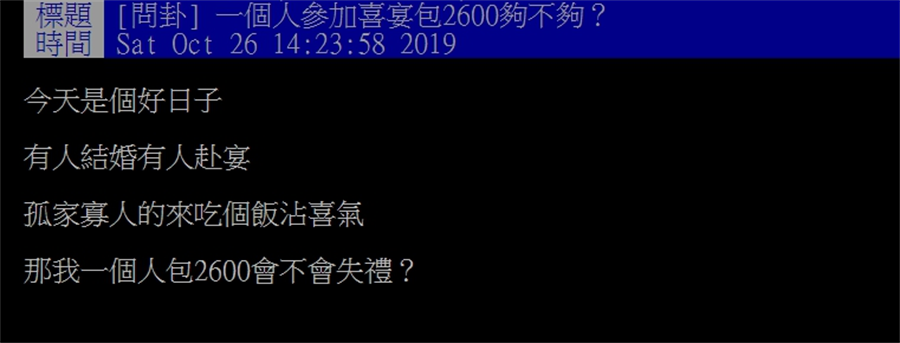 網友在PTT發文詢問,1個人去吃喜宴包2600元夠不夠。(圖/摘自PTT)