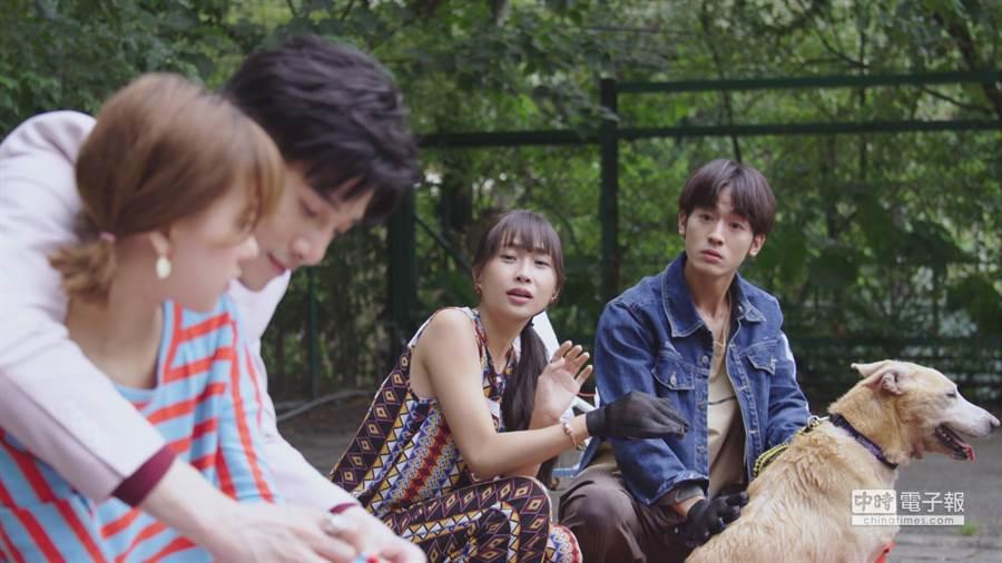《網紅的瘋狂世界》中,張立昂和小樂吳思賢在戲中都追起項婕如。(圖/台視提供)