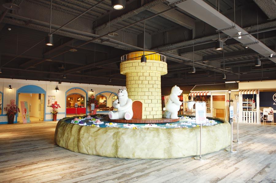 寶熊漁樂碼頭一樓設有全球最大的釣魚遊戲機(目前維護中),非常吸睛。圖/業者提供