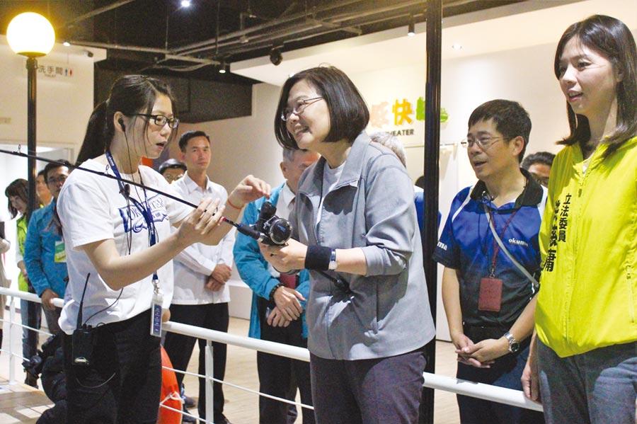 總統蔡英文日前參觀位在台中市潭子區的寶熊漁樂碼頭表示,台灣有90%以上的民眾沒有釣過魚,政策上需檢討。圖/業者提供